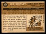 1960 Topps #239  Joe Shipley  Back Thumbnail