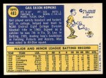 1970 Topps #483  Gail Hopkins  Back Thumbnail