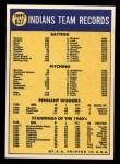 1970 Topps #637   Indians Team Back Thumbnail