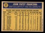 1970 Topps #663  Tito Francona  Back Thumbnail