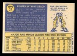 1970 Topps #37  Dick Drago  Back Thumbnail
