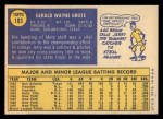 1970 Topps #183  Jerry Grote  Back Thumbnail