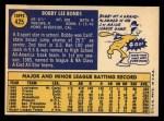 1970 Topps #425  Bobby Bonds  Back Thumbnail
