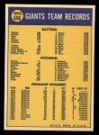 1970 Topps #696   Giants Team Back Thumbnail