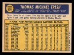 1970 Topps #698  Tom Tresh  Back Thumbnail