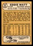 1968 Topps #186  Eddie Watt  Back Thumbnail