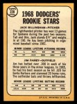 1968 Topps #228   -  Jim Fairey / Jack Billingham Dodgers Rookies Back Thumbnail