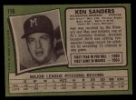 1971 Topps #116  Ken Sanders  Back Thumbnail