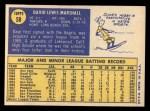 1970 Topps #58  Dave Marshall  Back Thumbnail