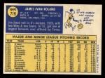 1970 Topps #719  Jim Roland  Back Thumbnail