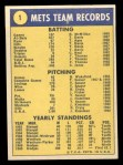 1970 Topps #1   Mets Team Back Thumbnail