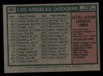 1975 Topps #361   -  Walter Alston Dodgers Team Checklist Back Thumbnail