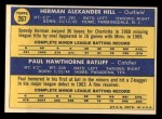 1970 Topps #267   -  Herman Hill / Paul Ratliff Twins Rookies Back Thumbnail