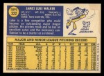 1970 Topps #322  Luke Walker  Back Thumbnail