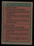 1975 Topps #200   -  Mickey Mantle / Maury Wills 1962 MVPs Back Thumbnail