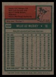1975 Topps #450  Willie McCovey  Back Thumbnail