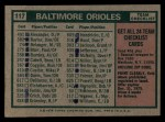 1975 Topps #117   -  Earl Weaver Orioles Team Checklist Back Thumbnail