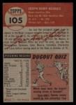 1953 Topps #105  Joe Nuxhall  Back Thumbnail