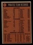 1972 Topps #1   Pirates Team Back Thumbnail
