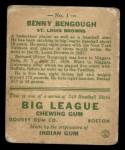 1933 Goudey #1  Benny Bengough  Back Thumbnail