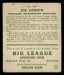 1933 Goudey #109  Joe Cronin  Back Thumbnail
