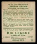 1934 Goudey #3  Charlie Grimm  Back Thumbnail