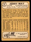 1968 Topps #598  Jerry May  Back Thumbnail