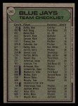 1979 Topps #282   -  Roy Hartsfield  Blue Jays Team Checklist Back Thumbnail