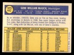 1970 Topps #442  Gene Mauch  Back Thumbnail