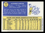 1970 Topps #115  Alex Johnson  Back Thumbnail