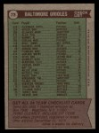 1976 Topps #73   -  Earl Weaver Orioles Team Checklist Back Thumbnail