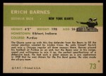 1961 Fleer #73  Erich Barnes  Back Thumbnail