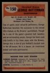 1955 Bowman #150  George Ratterman  Back Thumbnail