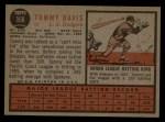 1962 Topps #358  Tommy Davis  Back Thumbnail
