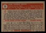 1952 Topps #25 RED Johnny Groth  Back Thumbnail