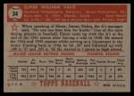1952 Topps #34 RED Elmer Valo  Back Thumbnail