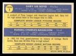 1970 Topps #7   -  Gary Boyd / Russ Nagelson Indians Rookies Back Thumbnail