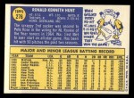 1970 Topps #276  Ron Hunt  Back Thumbnail