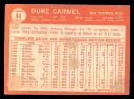 1964 Topps #44  Duke Carmel  Back Thumbnail