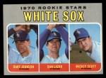 1970 Topps #669   -  Bart Johnson / Dan Lazar / Mickey Scott White Sox Rookies Front Thumbnail