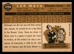 1960 Topps #246  Lee Maye  Back Thumbnail