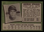 1971 Topps #411  George Spriggs  Back Thumbnail