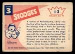 1959 Fleer Three Stooges #3   Larry  Back Thumbnail