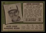 1971 Topps #59  Gene Mauch  Back Thumbnail