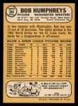 1968 Topps #268  Bob Humphreys  Back Thumbnail