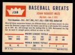 1960 Fleer #38  Johnny Mize  Back Thumbnail