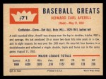 1960 Fleer #71  Earl Averill  Back Thumbnail