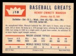 1960 Fleer #18  Heinie Manush  Back Thumbnail