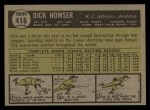 1961 Topps #416  Dick Howser  Back Thumbnail