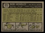 1961 Topps #372  Bob Hendley  Back Thumbnail